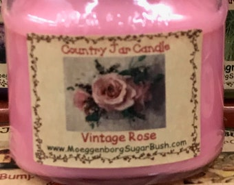 Jar candle, Vintage Rose, Half Pint, sweetheart roses, floral ,floral scented, Pink, teacher gift, mother's day gift, MoeggenborgSugarBush
