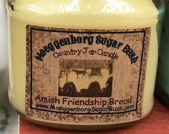Jar Candles, Amish Friendship Bread, mason jar, Country half pint , almond cake, butter, cinnamon, raisins, clove, Moeggenborg Sugar Bush