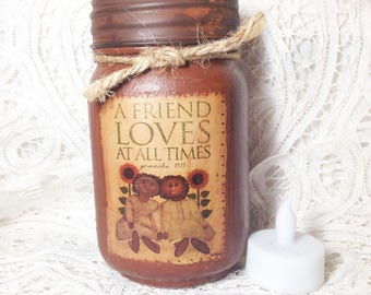 Grungy Jar Candle - Proverbs 17:17 A Friend Loves At All Times