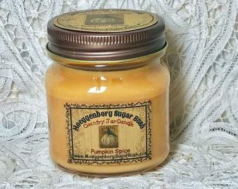 Jar Candle, 1/2 pint, Pumpkin, Country Mason Jar, friend gift, housewarming gift, autumn,  primitive scent, Moeggenborg Sugar Bush, teacher