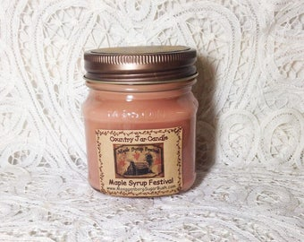 Jar Candle, Maple Syrup Festival, mason jar candle, Shepherd Maple Syrup Festival, half pint, container candle, Moeggenborg Sugar Bush