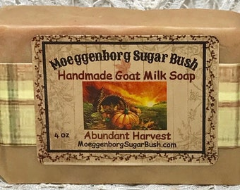 Goat Milk Soap, harvest,  Cold Process, handmade soap, Moeggenborg Sugar Bush, gift for her, teacher gift, girl friend gift, housewarming