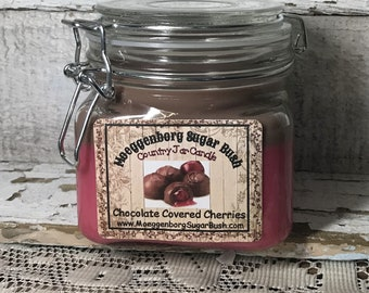 Jar Candle Pint,Michigan,Michigan made,chocolate covered cherries,double wooden wick,Father's day gift, housewarming, Moeggenborg Sugar Bush