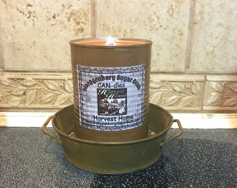 Harvest Home CAN-dle, container candle, made in the USA,16 ounces, Autumn Candle, Moeggenborg Sugar Bush