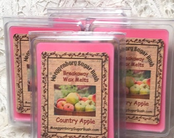 Wax Melts, Country Apple, two packages melts, breakaway melts, flameless gifts for her, teacher, mom,  Moeggenborg Sugar Bush, candle melt