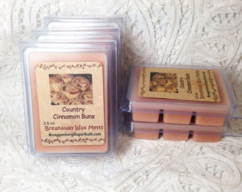 Wax Melts, Country Cinnamon Buns, wax tart melts, clamshell tarts, wedding gift, Moeggenborg Sugar Bush, Bakery scent, candle melts