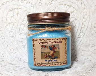 Mason Jar Candle half pint Wash Day Country Moeggenborg Sugar Bush