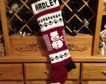 Personalized Christmas Stocking, Stockings, knitted, snowman, snowmen, wedding gift, new baby gift, Moeggenborg Sugar Bush, unlined, lined
