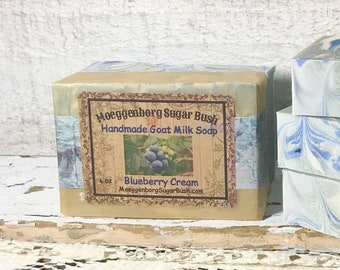 Goat Milk Soap, Blueberry Cream, Moeggenborg Sugar Bush, cold process soap, hand crafted soap,
