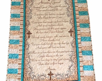 Amazing Grace, Throw, wall hanging, quilted, Christian hymn, prayer quilt, Moeggenborg Sugar Bush, cotton, housewarming gift