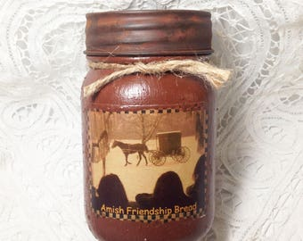 Homespun Memories Grungy Jar Candle - Amish Friendship Bread - 1 pint