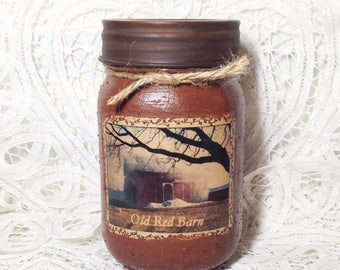 Grungy Jar Candle - Old Red Barn - pint candle, housewarming gift, autumn candle, Country Bumpkin scent, barn candle, Moeggenborg Sugar Bush