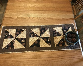 Table Runner, table quilt, chocolate covered cookies, chocolate, browns, Moeggenborg Sugar Bush, quilted, housewarming gift, wedding gift