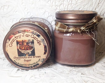 Jar Candle, Chestnuts and brown sugar, mason jar candle, half pint, container candle, spice scent, Moeggenborg Sugar Bush
