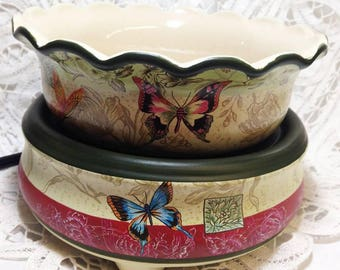 Combination Tart Burner and Candle Warmer - Butterflies