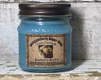 Jar Candle,Blueberry muffin, mason jar candle, half pint, container candle, made in the USA, Moeggenborg Sugar Bush