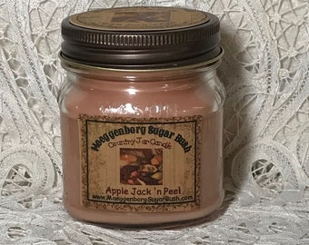 Jar Candle, 1/2 pint, Apple Jack 'n Peel, Country Mason Jar, cinnamon, orange, apple, primitive scent, Moeggenborg Sugar Bush, teacher gift