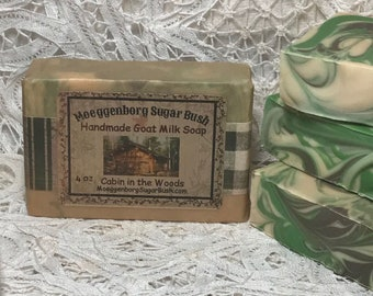 Goat Milk Soap, Cabin, Woods, Cinnamon, bayberry, pine, gift for guys, gifts for men,  Handmade, Cold Process soap, Moeggenborg Sugar Bush