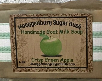 Goat Milk Soap, Crisp Green Apple, One bar, Moeggenborg Sugar Bush, Handmade soap, teacher gift, mother's day, girlfriend gift