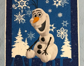 Olaf quilt, Child's quilt, Baby Carseat Quilt, snowman,  Moeggenborg Sugar Bush, quilted, baby gift, gift, baby shower gift