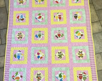 Baby Carseat Quilt, owls, birds, teddy bears, Moeggenborg Sugar Bush, quilted, baby girl, gift, baby shower gift