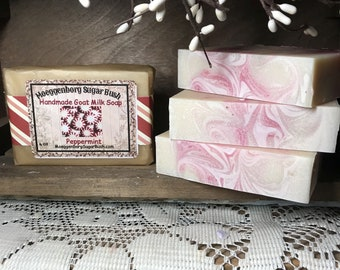 Goat Milk Soap, Peppermint, Handmade, Cold Process, Mothers Day, Teacher gift, Moeggenborg Sugar Bush,one bar,hand made,