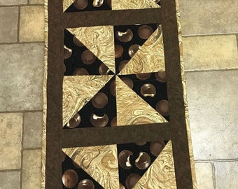 Table Runner, chocolate marshmallow cookies, caramel, browns, Moeggenborg Sugar Bush, quilted, mother's day, housewarming gift, wedding gift