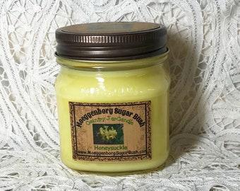 Honeysuckle Scent, Mason Jar Candle, Half Pint Candle, Spring scented, floral scented, MoeggenborgSugarBush