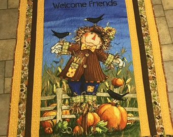 Autumn Wall Hanging, Scarecrow, lap quilt, fall scarecrow, Autumn Decor, Moeggenborg Sugar Bush, quilted, housewarming gift, wedding gift