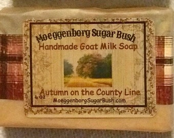 Goat Milk Soap, Autumn County Line, cold processed soap, spicy scent,teacher gift,mother's day,handmade soap,one bar,Moeggenborg Sugar Bush