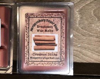 Wax Melts, Cinnamon Sticks, cinnamon wax tart melts, clam shell tart, teacher gift, Moeggenborg Sugar Bush, Cinnamon Wax Melt, candle melts