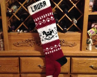 Personalized Christmas Stocking, Stockings, knitted, rocking horse, wedding gift, new baby gift, Moeggenborg Sugar Bush, unlined, lined