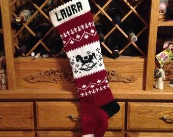 Personalized Christmas Stocking,Made in Michigan,Made in the USA,rocking horse,new baby gift,Moeggenborg Sugar Bush,unlined,lined