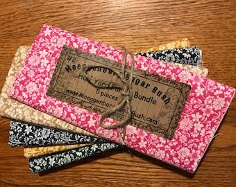 Floral fabric bundle,5 half-yard pieces,quilting fabric,Moeggenborg Sugar Bush,Bundle #2,pink,tan,blue,gold,hunter green