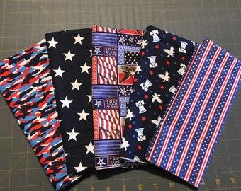 Americana fabric bundle,5 half-yard pieces,quilting fabric,Moeggenborg Sugar Bush,Bundle #9,patriot camo,stars,print,liberty bells,stripe