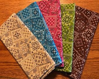 Bandana fabric bundle,5 half-yard pieces,quilting fabric,Moeggenborg Sugar Bush,Bundle #7, beige, rose, blue, lime, brown