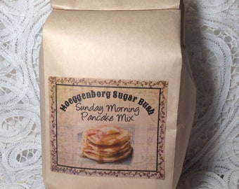 Pancake Mix, Sunday Breakfast, dinner plate sized pancakes, Moeggenborg Sugar Bush,