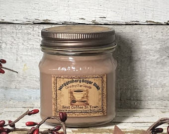 Best Coffee,  Candle Jar,  Mason,  half pint, house warming gift, wedding, Moeggenborg Sugar Bush