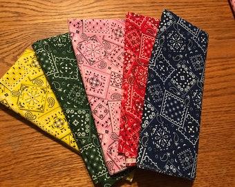 Bandana fabric bundle,5 half-yard pieces,quilting fabric,Moeggenborg Sugar Bush,Bundle #6, yellow,red,green,pink,navy