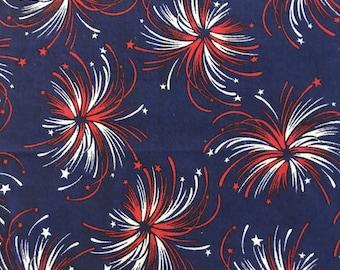 "Patriotic fabric, quilting fabric, sparklers fabric, half yard,45"" wide, Moeggenborg Sugar Bush,"