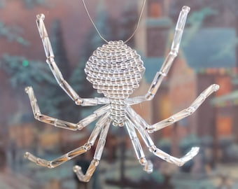 Silver Christmas Spider, Legend of the Christmas Spider, Beaded Spider Christmas Tree Ornament