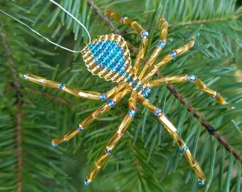 Christmas Spider Ornament, Gold & Teal, Spider Christmas Tree Ornament, Hanging Spider Decoration, Legend of the Christmas Spider