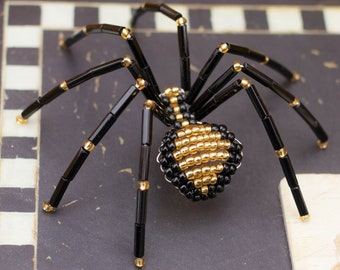 Christmas Beaded Spider, Black & Gold, Beaded Spider Christmas Tree Ornament, Legend of the Christmas Spider