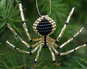 Christmas Beaded Spider, Gold & Black, Beaded Spider Christmas Tree Ornament, Legend of the Christmas Spider