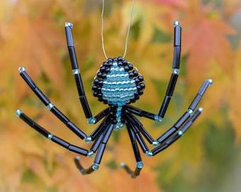 Christmas Spider Ornament, Black & Blue, Legend of the Christmas Spider Story, Beaded Spider Christmas Tree Ornament