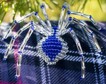 Beaded Spider Ornament, Ice Blue, Legend of the Christmas Spider, Silver Spider Christmas Tree Ornament