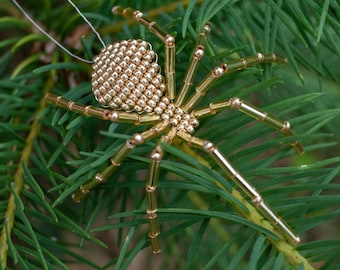 Christmas Beaded Spider Ornament, Gold Christmas Tree Ornament, Legend of the Christmas Spider included