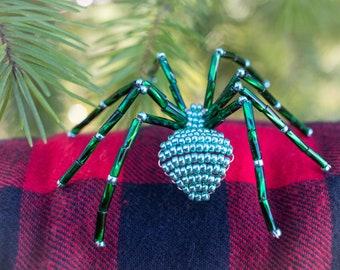 Christmas Spider Pin, Glittering Green, Beaded Spider Brooch