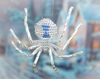 Christmas Spider Ornament, Silver & Blue Widow, Legend of the Christmas Spider, Beaded Spider Ornament