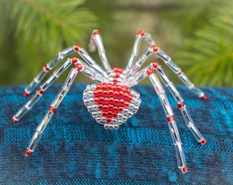 Christmas Spider Ornament, Silver & Red, Legend of the Christmas Spider, Beaded Spider Christmas Tree Ornament